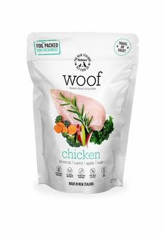 Made in New Zealand.  ​  WOOF is made using only the highest quality ingredients aimed at nourishing your pet's health. We combine the nutrition and taste of fresh, raw food and put it through a gentle freeze drying process which protects all the natural enzymes and nutrients, so none of the wholesome goodness is cooked out.
