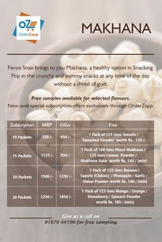 #Makhana, also called fox nuts or lotus seeds, is a healthy snacking option. Avail special deals on Ferox Fundaa Mini Makhanas exclusively through #OrderZapp. Free samples available too. Call 9167044100 to order now.
