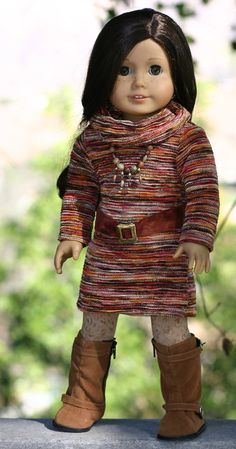 American Girl Doll Clothes-Sweater Dress, Cowl Neck/Infinity Scarf/Head Band, Leggings, Suede Belt, Beaded Necklace by Doll Closet Heirlooms on Etsy, $65.00