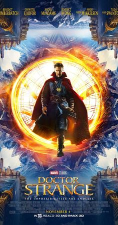 Directed by Scott Derrickson.  With Rachel McAdams, Benedict Wong, Benedict Cumberbatch, Chiwetel Ejiofor. After his career is destroyed, a brilliant but arrogant and conceited surgeon gets a new lease on life when a sorcerer takes him under her wing and trains him to defend the world against evil.