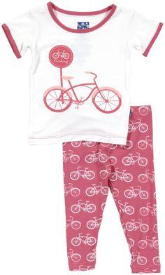 Kickee Pants Print Pajama Set (Baby) - Flamingo Bike