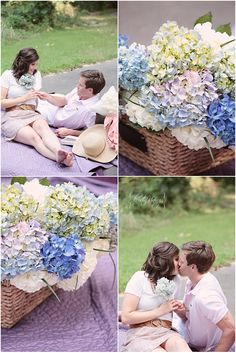 purple and green summertime engagement session   copyright @Kristin Vining Charlotte, NC Wedding Photographer, engagement, hydrangeas, love, kiss