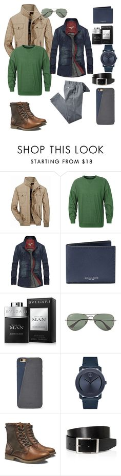 """""""The world of men"""" by amiraahmetovic ❤ liked on Polyvore featuring Jeep Rich, Michael Kors, Bulgari, Ray-Ban, FOSSIL, Movado, Caterpillar, HUGO, men's fashion and menswear"""