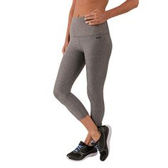 RBX Active Women's Body Contouring High Waisted Crop Capri Compression Leggings. A solid pattern for a solid fitness routine. Seasonal heathered pattern for a timelessly fashionable look and feel. Stretch jersey fabric allows for a full range of motion and natural feel to stay focused on your workout. Compression fit for a locked-in feel. High-rise inner power mesh waistband for ultimate compression and core support.