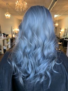 Blue Hair: 30 Brand New Bangin' Blue Hair Color Ideas - Blue silver hair color - Icy Blue Hair, Silver Blue Hair, Blue Wig, Brown Ombre Hair, Ombre Hair Color, Blonde And Blue Hair, Pastel Blue Hair, Silver Ombre, Blur Hair