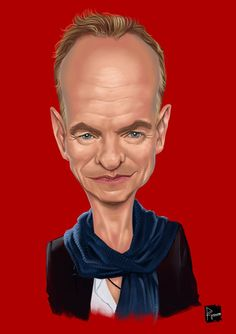 Sting Cartoon Faces, Funny Faces, Cartoon Drawings, Funny Caricatures, Celebrity Caricatures, Caricature Drawing, Celebrity Drawings, Classic Paintings, Star Art