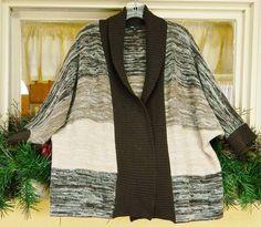 Womens XL Open Sweater Coat Brown Multi Marled Stripe Shawl Collar Dolman Slv  #ABStudio #Sweatercoat #Casual