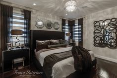 A bold black upholstered bed in velvet with stainless steel nail heads create a refined space with modern touches and interesting textures. Cozy Bedroom, Modern Bedroom, Master Bedroom, Bedroom Decor, Black Upholstered Bed, Black Headboard, Stainless Steel Nails, Best Interior Design, Window Coverings