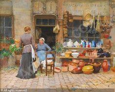 GILBERT Victor Gabriel, 1847-1935 (Francia) Título: Discusión avec la quincaillère