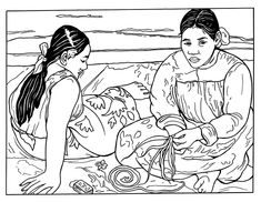 Free coloring page coloring-gauguin-femme-tahitienne. Adult coloring page inspired by a painting by Paul Gaughin representing Tahitian women Paul Gauguin, Colouring Pages, Adult Coloring Pages, Coloring Books, Free Coloring, Artists For Kids, Art Base, Art Plastique, Famous Artists