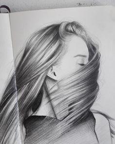 by crystal_arts Portrait Sketches, Portrait Illustration, Pencil Portrait, Art Drawings Sketches, Easy Drawings, Art Illustrations, Pencil Drawings Of Girls, Pencil Drawing Tutorials, Bio Art