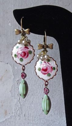SEC 6/11 vintage Guilloche dresden rose enamels and Bow leverbacks  from B'Sue, vintage W German.Austrian glass dangles and vintage pearlies from my stash. MockiDesigns.etsy.com
