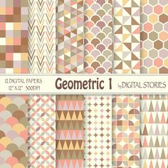 "Geometric Digital Paper: ""GEOMETRIC 1"" Pastel Geometric Patterns, triangle, honeycomb for scrapbooking, cards, invites - Buy 2 Get 1 Free"