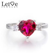 Leige Jewelry Anniversary Ring Ruby Ring July Birthstone Heart Cut Red Gemstone Solid 925 Sterling Silver Ring Gifts for Women - Affordable Jewelry Ruby Jewelry, Sterling Silver Jewelry, Silver Rings, Fine Jewelry, Jewellery, July Birthstone, Birthstone Jewelry, Girls Jewelry Box, Red Gemstones