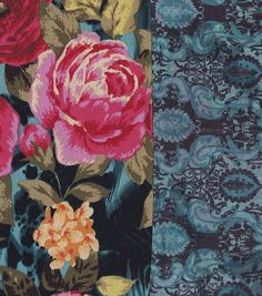 Gilded Age-  Floral Reversible Denim Cotton Polyester Spnd