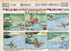 """""""A Fish Story"""" by Gustave Verbeck  From """"The Upside Downs of Little Lady Lovekins and Oldman Muffaroo""""  Story is read, then image is flipped 180 degrees, and the story is continued."""
