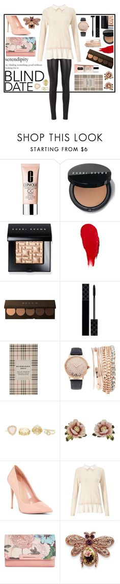 """""""Nerd in leather."""" by ayearintheirclothes ❤ liked on Polyvore featuring Clinique, Bobbi Brown Cosmetics, Rodin, Becca, Gucci, Burberry, Jessica Carlyle, Charlotte Russe, Les Néréides and ALDO"""