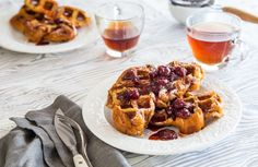 French Toast Waffles with Tart Cherry Syrup pair sweet and tangy in the ultimate breakfast food - perfect for National Waffle Day! French Toast Waffles, Make French Toast, Pancakes And Waffles, Cherry Syrup, Cherry Tart, Vegetarian Breakfast, Breakfast Recipes, Tart Cherry Juice Concentrate, National Waffle Day