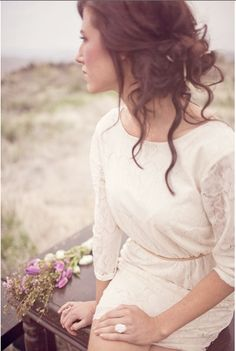 simple summer relaxed wedding dress and hair