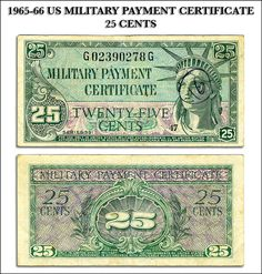 Scanned copy of US Military Payment Certificate (aka MPC), front and back side, original obtained from US Eighth Army, Seoul, Korea. Us Military, Us Army, Military Payment Certificate, Banknote, Seoul Korea, Korean War, United States Army, The Twenties, Coins