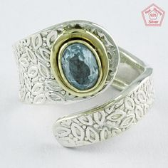 BLUE TOPAZ TWO TONE hANDMADe DESIGN 925 STERLING SILVER ADJUSTABLE RING,R4626 #SilvexImagesIndiaPvtLtd #Statement #AllOccasions
