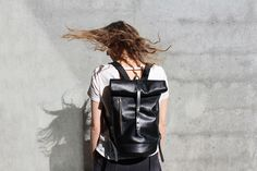 via Shake it off with the Moto Rolltop Backpack. All leather handcrafted in SF and available in your choice of chestnut or noir. Shop link in bio. Diy Backpack, Leather Backpack, Or Noir, Local Women, How To Make Handbags, A 17, Backpacks, Stylish, My Style