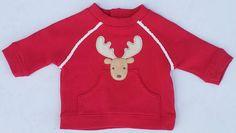 Gymboree Colorful Village Red Faux Fur Trim Moose Sweatshirt Sz 6-12 MON NWT #Gymboree #DressyEverydayHoliday