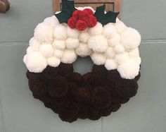 Items similar to Holiday White and Silver Pom Pom Wreath on Etsy Christmas Pom Pom, Christmas Door Wreaths, Christmas Makes, Christmas Fun, Crochet Christmas Wreath, Christmas Pudding, Wreath Crafts, Christmas Crafts, Christmas Ornaments