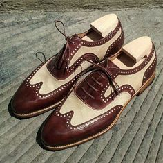 Handmade Burgundy & Beige Tweed Leather Shoes, Men's Wing Tip Lace Up Shoes - Dress shoes - [post_tags Leather Dress Shoes, Suede Shoes, Lace Up Shoes, Men's Shoes, Shoes Men, Beige Shoes, Green Shoes, Ladies Shoes, Mens Monk Strap Shoes