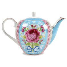 Antique Rose Blue Tea Pot