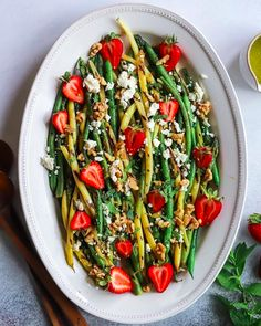 This Green Beans and Strawberry Salad recipe is featured in the Grilled feed along with many more. Green Bean Salads, Green Bean Recipes, Dinner Sides, Quick Easy Meals, Pasta Salad, Feta, Strawberry, Coriander