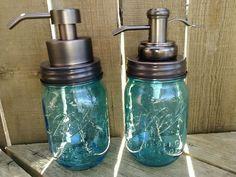 Blue Mason Jar Soap Dispenser in Bronze #Mason