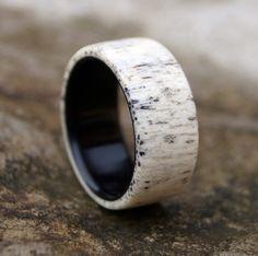 Antler Ring Men Ring Ebony Wood Ring Wedding Ring by RingsDepot