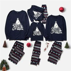 Family Christmas Pajamas, Long Sleeve Pyjamas, Matching Family Outfits, Printed Shorts, Wholesale Clothing, Cheap Shoes Online, Cheap Clothes, Dark Blue, Christmas Trees