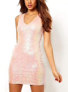 Pink Sequined V-neck Sleeveless Dress$44. Enjoy 25%OFF for the coming Mother's Day! http://www.udobuy.com/article.php?id=44