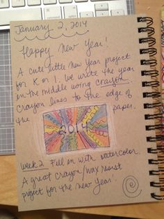 An Art Teacher's Journal. K-1 New Year line project. Crayon and watercolor, wax resist.
