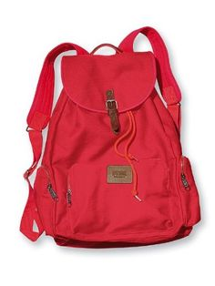 Victoria s Secret PINK School Canvas Handbag Backpack Book Bag Tote - Neon  Red Victoria Secret Backpack 758fa8c80a224