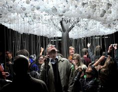 CLOUD || Caitlind r.c. Brown - A large-scale interactive installation created from steel, metal pull-strings, and 5,000+ light bulbs. CLOUD allows the viewer to participate in pulling lights on and off, creating the flickering look of an electrical cloud. #cool #art