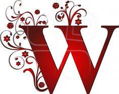 capital letter W red, abstract, alphabet, alphabetic: