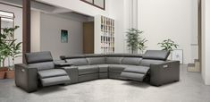 Fashionable Corner Sectional L-shape Sofa Grey Leather Sectional, Leather Recliner, Leather Sofas, Corner Sectional Sofa, L Shaped Sofa, Reclining Sofa, Italian Leather, Real Leather, Upholstery