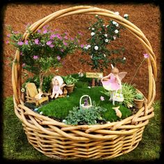 Easter fairy basket garden, fairy garden, miniature garden