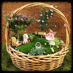 Easter fairy basket garden, fairy garden, miniature garden