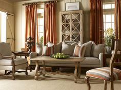 Orange Curtains On The Modern Windows Gallery Of French Living Rooms Decorating Ideas With Stripped Seat Applied On The Cream Floor With Wooden Clay