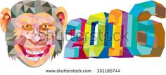 Year of the Monkey 2016 Low Polygon Low polygon style illustration of the number 2016 and the words Year of the Monkey set on isolated white background.The zipped file includes editable vector EPS, hi-res JPG and PNG image. Zodiac Years, Polygon Art, Year Of The Monkey, Halloween Art, Royalty Free Images, Pattern Design, Retro Illustrations, Artwork, Number
