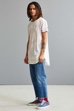 Feathers Cloud Wash Long Loose Scoopneck Tee - Urban Outfitters
