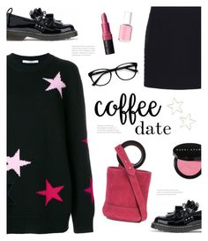 """Buzz-Worthy: Coffee Date"" by catchsomeraes ❤ liked on Polyvore featuring Givenchy, Balenciaga, Mother of Pearl, Simon Miller, Shashi, Bobbi Brown Cosmetics, EyeBuyDirect.com, Essie, loafers and suede"