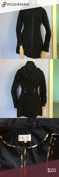 Raincoat windbreaker Light weight with removable hood and decorative inseams, this jacket shows no wear and is like new condition Laundry by Shelli Segal Jackets & Coats Utility Jackets