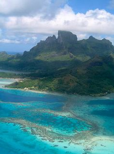 Aerial view of Bora Bora from the flight to Huahine.