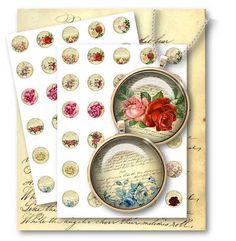 307-Vintage Roses 1 inch Circles Digital Collage Sheet - Vintage Papers - Digital collage sheets, Vintage Clipart, Printables, Scrapbooking supplies