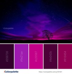 Color Palette Ideas from Sky Nature Atmosphere Image Color Schemes Colour Palettes, Colour Pallette, Color Palate, Color Combos, Purple Color Schemes, Color Palette Challenge, Galaxy Colors, Colour Board, Color Swatches